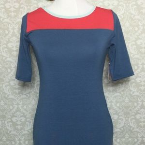 NWT LuLaRoe Julia XS navy and red colorblock